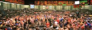 Large Group of People on the Trading Floor, Chicago Board of Trade, Chicago, Illinois, USA