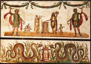 Lari Sacrificing and Agathodemon Snakes at Altar, C.55-79