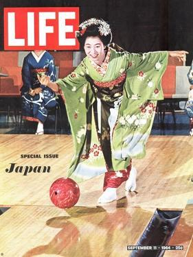 Special Issue: Japan, Woman in Kimono Bowling, September 11, 1964 by Larry Burrows