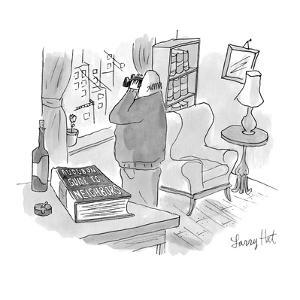 Man with binoculars looking out window. Title of book on table reads, 'Aud… - New Yorker Cartoon by Larry Hat