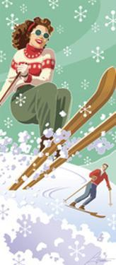 Vintage Skiers by Larry Hunter