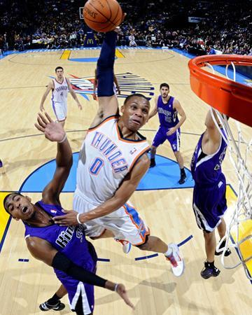 Sacramento Kings v Oklahoma City Thunder: Russell Westbrook and Donte Greene by Larry W. Smith