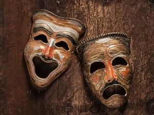 Comedy and Tragedy Masks Lying by Lars Hallstrom