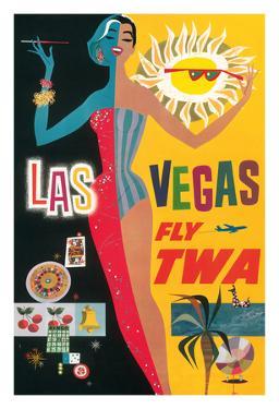 Las Vegas, Nevada - Trans World Airlines Fly TWA, 1958