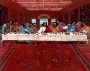 Last Supper Black Jesus Christ religious Print POSTER