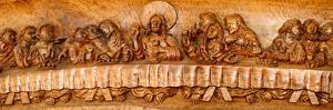 Last supper sculptures carving on wall, Vigan, Ilocos Sur, Philippines