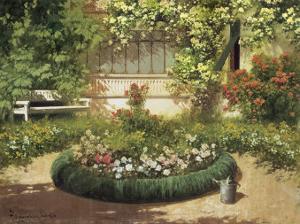 Sunlit Flower Garden by Laszlo Neogrady