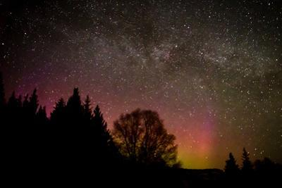 Milky Way above Aurora Glow by Latitude 59 LLP