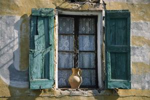 Typical French Window, with Turquoise Wooden Shutters and Terracotta Jug by LatitudeStock