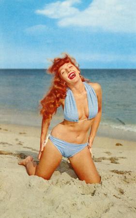 Laughing Redhead on Beach