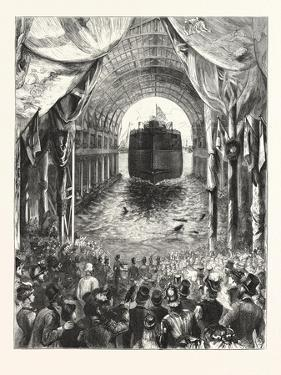 Launch of H.M.S. Inflexible, at Portsmouth: the Vessel Leaving the Ways. 1876, Uk