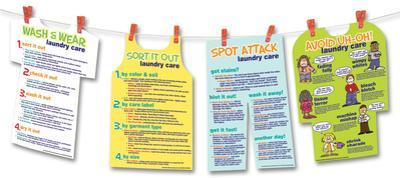 Laundry Basics (Four Laundry Posters and Hanger) Laminated Educational Poster Set