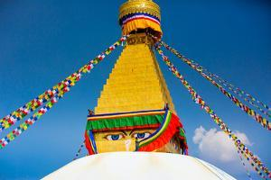 Buddhist Monks decorating the temple at Bouddha (Boudhanath), UNESCO World Heritage Site, Kathmandu by Laura Grier