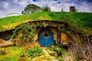 Front Door of a Hobbit House, Hobbiton, North Island, New Zealand, Pacific by Laura Grier