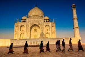 People Walking to Pray in Front of the Taj Mahal, UNESCO World Heritage Site, Agra by Laura Grier