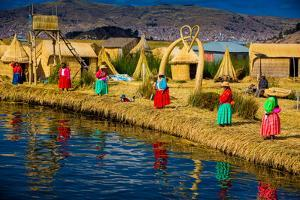 Quechua Indian Family on Floating Grass Islands of Uros, Lake Titicaca, Peru, South America by Laura Grier