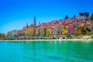 Skyline of Menton, Alpes-Maritimes, Cote D'Azur, Provence, French Riviera by Laura Grier