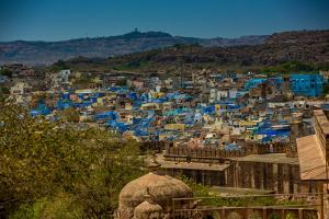 The View from Mehrangarh Fort of the Blue Rooftops in Jodhpur, the Blue City, Rajasthan by Laura Grier