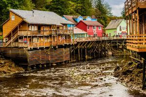 View of Creek Street in Business District in Ketchikan, Alaska, USA, North America by Laura Grier