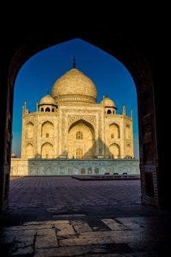 View of the Taj Mahal Through a Doorway, UNESCO World Heritage Site, Agra, Uttar Pradesh, India by Laura Grier