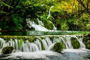 Waterfall in Plitvice Lakes National Park, UNESCO World Heritage Site, Croatia, Europe by Laura Grier