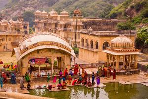 Women Bathing in Cistern, Jaipur, Rajasthan, India, Asia by Laura Grier
