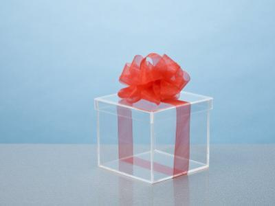 Clear Box with Red Ribbon and Bow