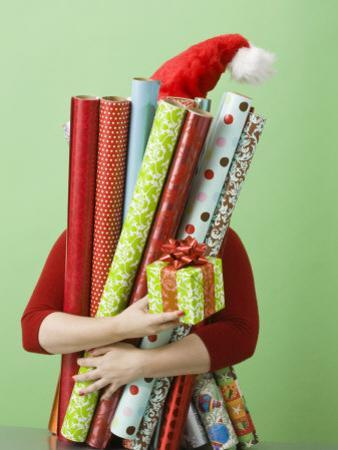 Woman with Gift Wrap and Present