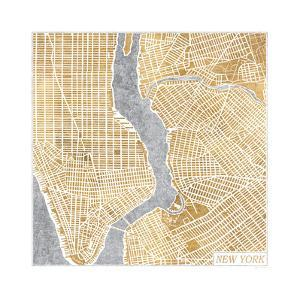 Gilded New York Map by Laura Marshall