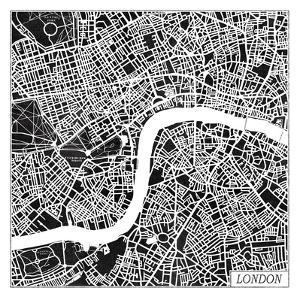 London Map Black by Laura Marshall