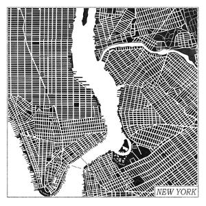 New York Map Black by Laura Marshall