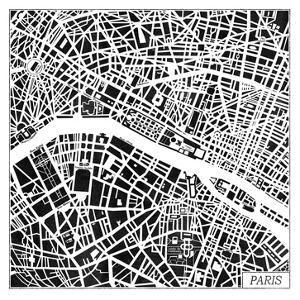Paris Map Black by Laura Marshall