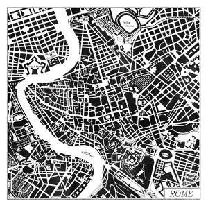 Rome Map Black by Laura Marshall