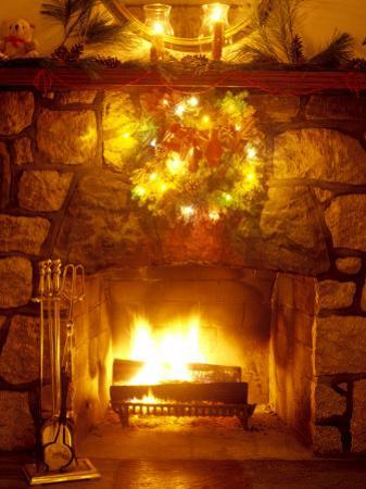 Christmas Wreath Over Fireplace