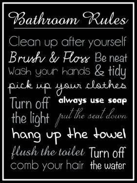 Bath Rules Blk 2 by Lauren Gibbons