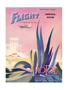 Flight' magazine cover - From Athens to London in a Vickers Viscount Aircraft, 1954 by Laurence Fish