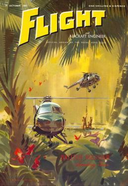 Flight' magazine cover - Helicopter Landing Gear, 1955 by Laurence Fish