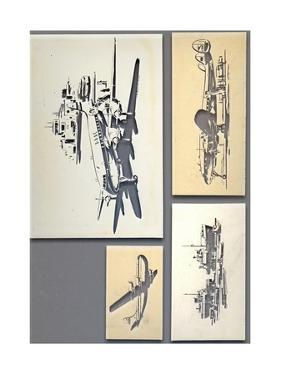 Four Studies - Aircraft and Ships by Laurence Fish
