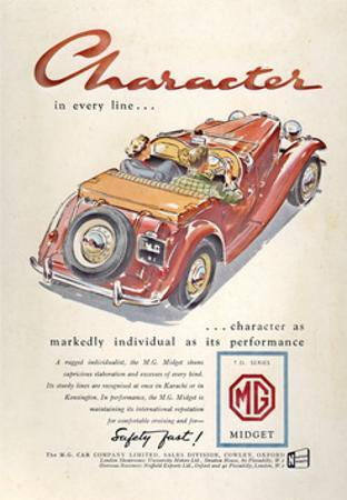 Press Advertisement for the MG Midget, 1950s by Laurence Fish