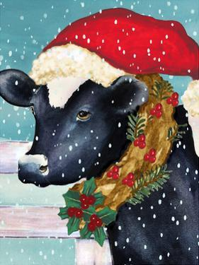Christmas Cow Vertical by Laurie Korsgaden
