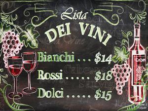 Vino and Grapes Chalkboard Menu by Laurie Korsgaden