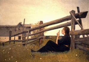 Girl in Meadow, 1899 by Laurits Andersen Ring