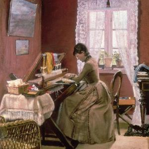Johanne Wilde, the Artist's Wife, at Her Loom by Laurits Andersen Ring