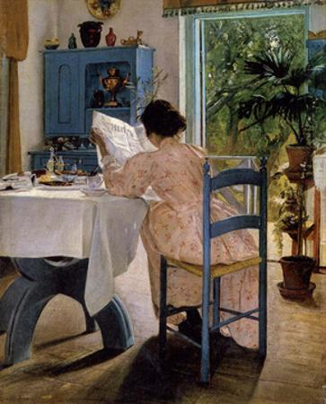 Reading Woman at Breakfast, 1898 by Laurits Andersen Ring