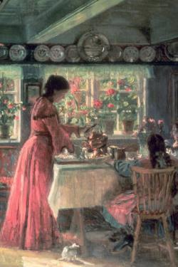 The Coffee is Poured - the Artist's Wife with Their 2 Daughters by Laurits Regner Tuxen