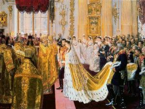 The Wedding of Tsar Nicholas II and the Princess Alix of Hesse-Darmstadt on November 26, 1894 by Laurits Regner Tuxen