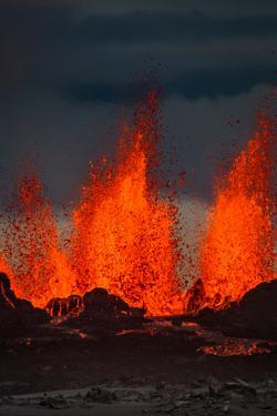 Lava Fountains at the Holuhraun Fissure Eruption Near Bardarbunga Volcano, Iceland