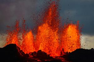 Lava Fountains at the Holuhraun Fissure Eruption Near Bardarbunga Volcano, Iceland