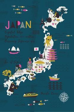 Cartoon Map of Japan. Print Design by Lavandaart