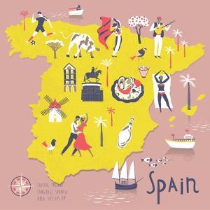 Cartoon Map of Spain with Legend Icons by Lavandaart